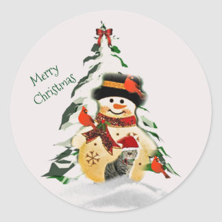 Christmas Snowman and Birds Round Sticker