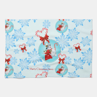 Christmas Snowman and Gentle Snowflakes Kitchen Towel