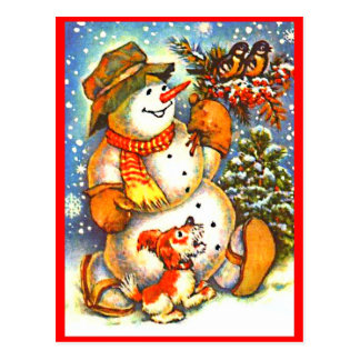 Christmas Snowman, Birds Dog Red Berries Postcard