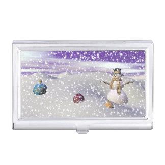 christmas snowman business card holder