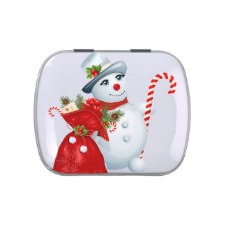 Christmas Snowman Candy Tin
