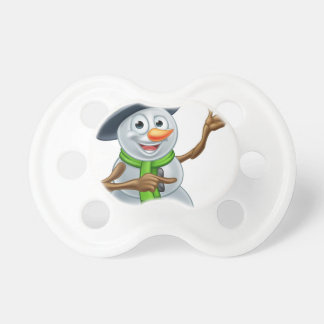 Christmas Snowman Cartoon Character Pointing Pacifiers