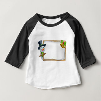 Christmas Snowman Cartoon Sign Baby T-Shirt