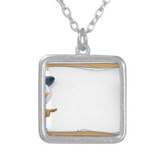 Christmas Snowman Cartoon Sign Silver Plated Necklace