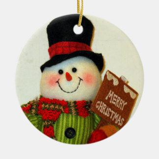 CHRISTMAS SNOWMAN CERAMIC ORNAMENT