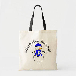 Christmas Snowman Colon Cancer Ribbon Budget Tote Bag