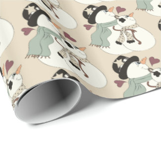 Christmas snowman couple party tiled wrap wrapping paper