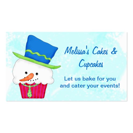 Christmas Snowman Cupcake Catering Baking Business Cards