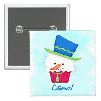 Christmas Snowman Cupcake Name Badge Personalized Pinback Button