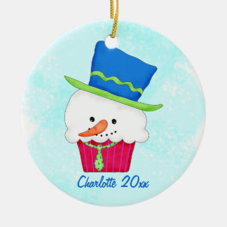Christmas Snowman Cupcake Name Personalized Ceramic Ornament