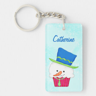 Christmas Snowman Cupcake Name Personalized Acrylic Keychains