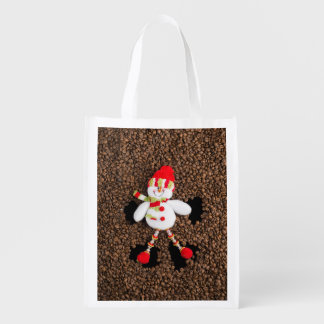 Christmas snowman decoration reusable grocery bag