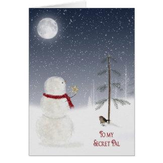 Christmas Snowman for Secret Pal Greeting Card
