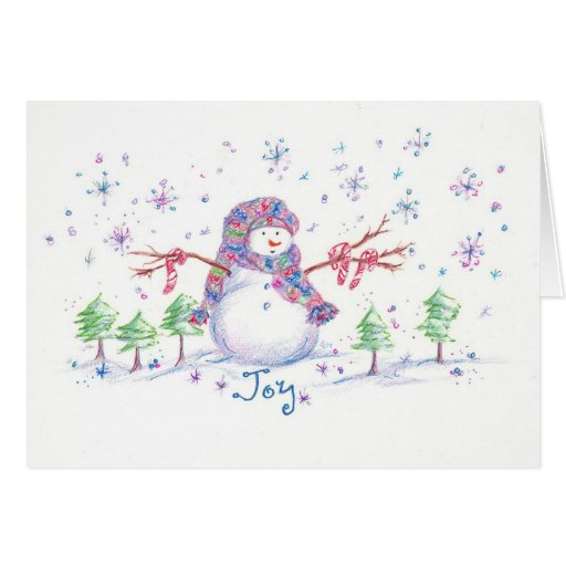 Christmas Snowman Frosty Joy Greeting Card