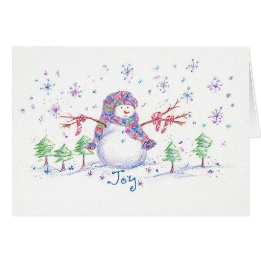 Christmas Snowman Frosty Joy Greeting Card
