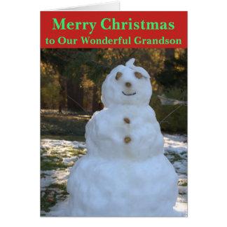 Christmas Snowman Grandson Card