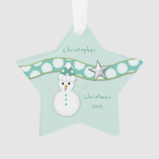 Christmas snowman green star ornament Grandson