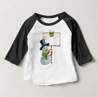 Christmas Snowman Holding Sign Baby T-Shirt
