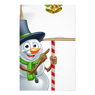 Christmas Snowman Holding Sign Customized Stationery