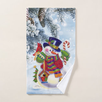 Christmas snowman Holiday bathroom hand towel