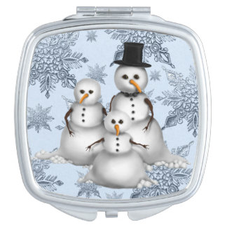 Christmas Snowman Holiday compact mirror
