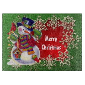 Christmas Snowman Holiday cutting board