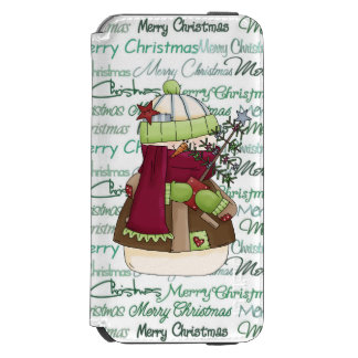 Christmas snowman Holiday word art Incipio Watson™ iPhone 6 Wallet Case