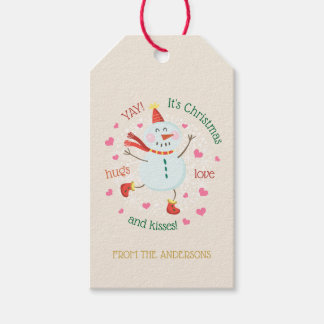 Christmas Snowman Hugs Love Kisses Gift Tags