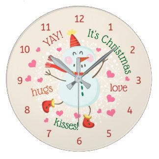 Christmas Snowman Hugs Love Kisses Large Clock