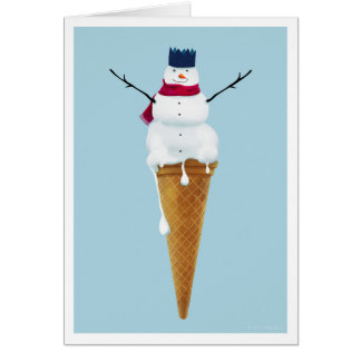 Christmas Snowman Ice cream card