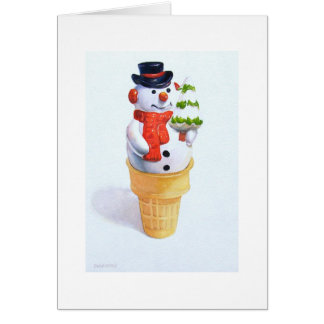 Christmas, snowman inside of a ice cream cone card