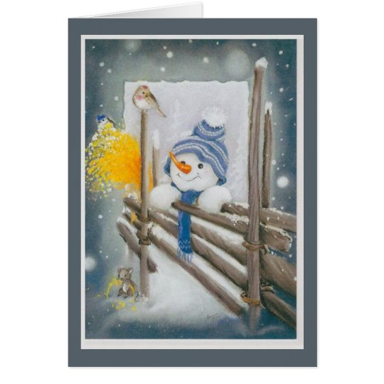 Christmas Snowman Looking At Bird Card