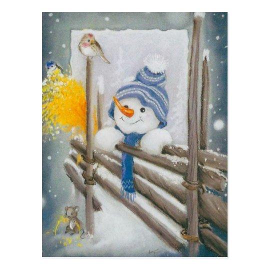 Christmas Snowman Looking At Bird Postcard