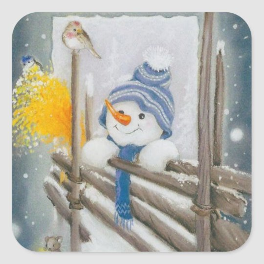 Christmas Snowman Looking At Bird Square Sticker