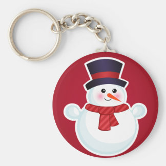 Christmas Snowman on Red Background Keychain