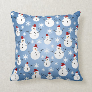 Christmas Snowman Pattern Throw Pillow