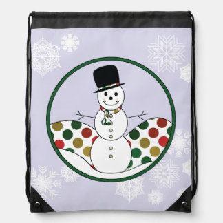Christmas Snowman Polkadot Art Drawstring Bag