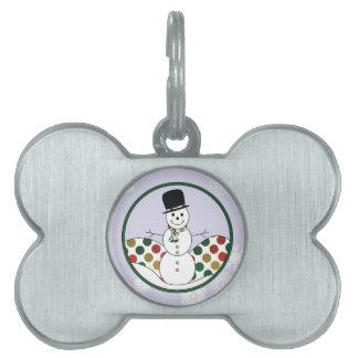 Christmas Snowman Polkadot Art Pet ID Tag