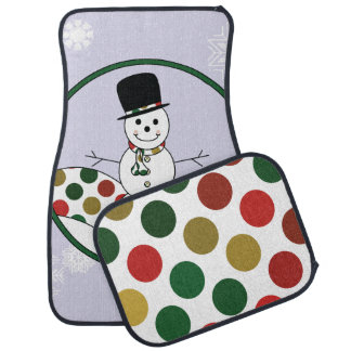Christmas Snowman Polkadot Art With Pattern Car Mat