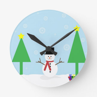 Christmas Snowman Round Clock