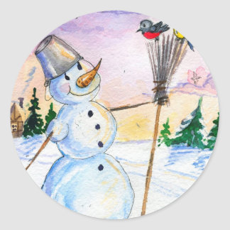 Christmas snowman Russian style card Classic Round Sticker