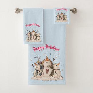 Christmas Snowman Rustic Country Primitive Winter Bath Towel Set