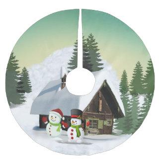 Christmas Snowman Scene Brushed Polyester Tree Skirt