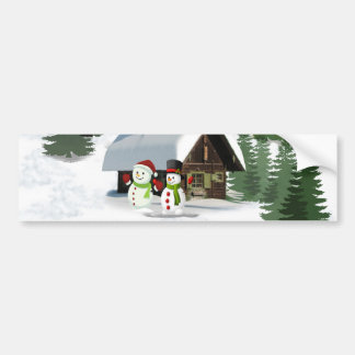 Christmas Snowman Scene Bumper Sticker
