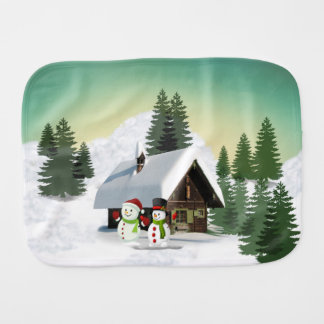 Christmas Snowman Scene Burp Cloth