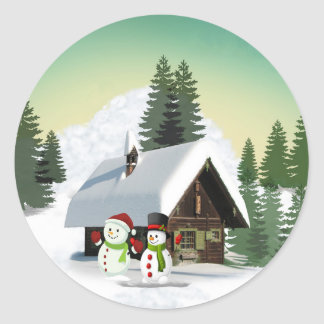 Christmas Snowman Scene Classic Round Sticker