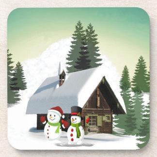 Christmas Snowman Scene Coaster