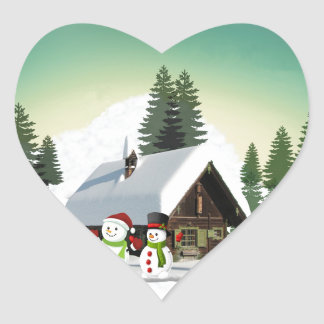 Christmas Snowman Scene Heart Sticker