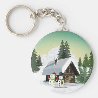 Christmas Snowman Scene Keychain