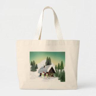 Christmas Snowman Scene Large Tote Bag